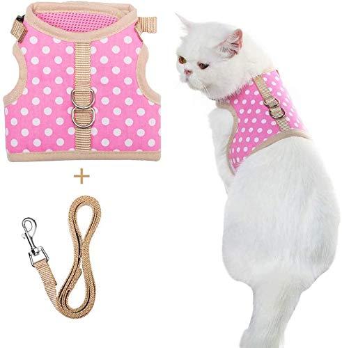 BINGPET Kattenharnas met Leash Set om te wandelen - Ontsnappingsbewijs Verstelbaar Zacht Kitty Vest Harnas met stippen patroon voor katten, puppies, M, roze