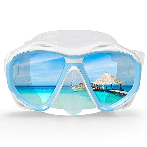 COPOZZ Scuba Mask, No Fogging Snorkeling Scuba Dive Glasses, Great Seal Free Diving Tempered Glass Mask Goggles (Blue)
