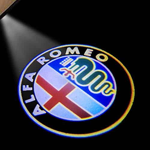 2 unids puerta de la puerta de la puerta de la puerta nueva LED de la moda LED Light Light Light Coche Light Light Logo Proyector para Alfa Romeo Giulia Giulietta Mito Stelvio Brera 147 156 156 luz de