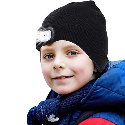 onehous Gorro de punto para niños con luz LED para mantener el calor, regulable, luz recargable por USB, gran regalo para niños y niñas Negro M