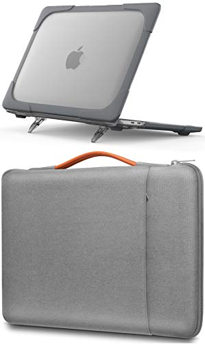 ProCase for 2020 MacBook Pro 13 M1 Hard Shell Case + Grey Sleeve Bag, Compatible with MacBook Pro New 13-inch Model A2338 A2289 –Grey + Light Grey