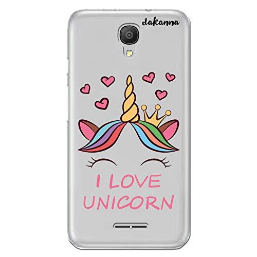 dakanna Funda para [Alcatel Pixi 4 3G (5.0 Inch)] de Silicona Flexible, Dibujo Diseño [Unicornio con Corazones y Frase, I Love Unicorn], Color [Fondo Transparente] Carcasa Case Cover de Gel TPU
