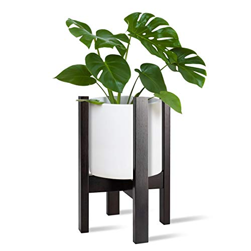 Indoor Bamboo Plant Stand,Coindivi Outdoor Adjustable Mid Century Corner Flower Plant Pot Holder Stands Fit 8 9 10 11 12 in Pot for Modern Rustic Home Decor, Dark Walnut (Pot Not Included)