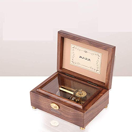 L@LILI Wooden Jewelry Box Music Box,30 Tone/50 Tone Walnut Clockwork Decoration Gift,50tonos