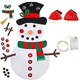 Smart Nice 23 Pcs Fieltro Navidad Muñeco de Nieve,3.28ft DIY Fieltro Adornos Manualidades la Pared con 50 LED Luces de Navidad Ornamentos Desmontables Arbol de Fieltro con Gorro navideño para Niños