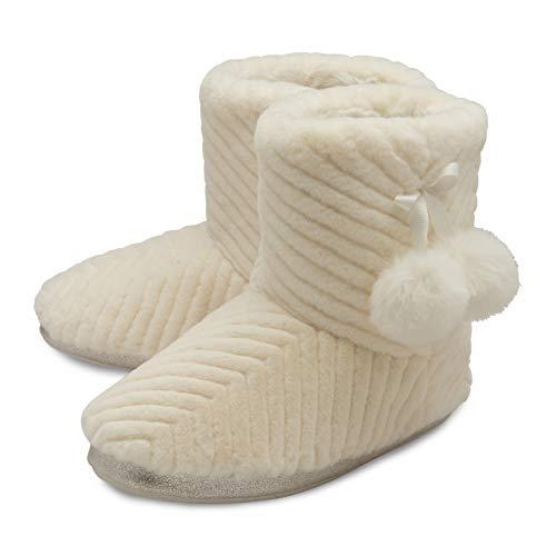 Dunlop Damen Hausschuhe Full Bootie Stiefel Kunstfell Memory Foam Größen 36-42, Elfenbein - cremefarben - Größe: 40 EU