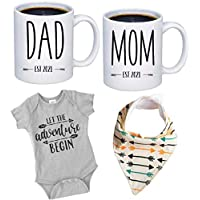 New Mommy and Daddy Est 2021 11 oz Mug Heart Set with