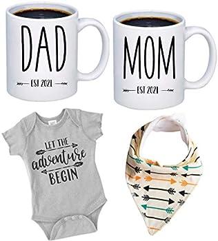 New Mommy and Daddy Est 2021 11 oz Mug Heart Set
