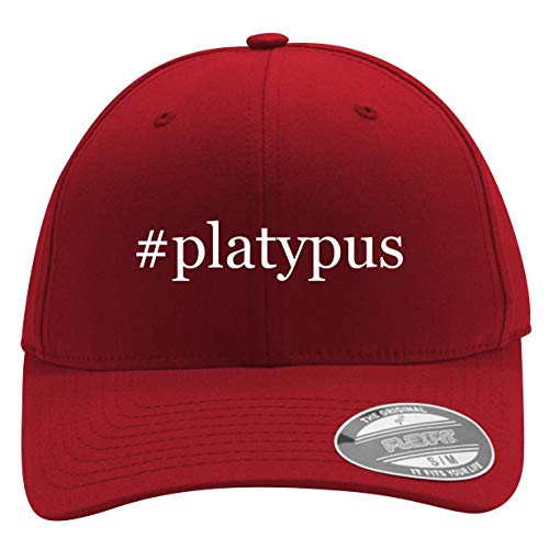 #Platypus - Men's Hashtag Flexfit Baseball Cap Hat, Red, Large/X-Large