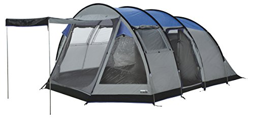 High Peak Tunnelzelt Durban 5, 5 Personen Campingzelt mit Wohn-/Stauraum, eingenähter Zeltboden, Großraum-Tunnelzelt mit Stehhöhe, Familienzelt mit 2 Eingängen, 4.000 mm wasserdicht, Moskito-Fenster