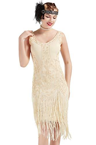 Coucoland Vestido de Noche Art Dco con Lentejuelas y Lentejuelas de los aos 20 Vestido de Mujer con Aletas de los aos 20 Gran Disfraz de Gatsby (Albaricoque, XL)