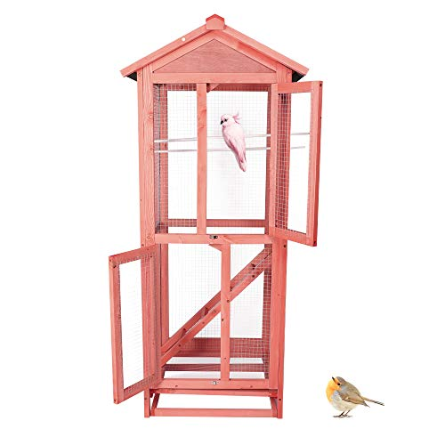 LONABR Wooden Aviary House Bird Cage Large Vertical Play House with Waterproof Roof Perches Ladder and Removable Trays for Outdoor Indoor