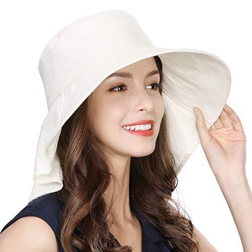 Comhats - Sombrero para Mujer con protección Solar UPF 50+ Safari, ala Ancha, Cuello Ajustable, con Correa para la Barbilla y Agujero para la Cola de Caballo Beige 00020_Beige M