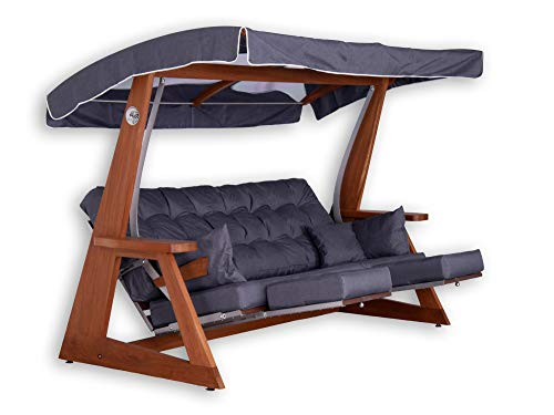 Hollyswing Dondolo in legno IROKO con tetto in vetro Plexi / 3 posti / imbottitura grigia / funzione sdraiata da giardino, sedia da giardino, sedia a sdraio con funzione sdraiata XL, imbottitura lusso