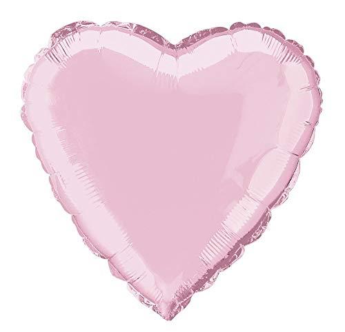 Unique Party- Globo foil helio corazón, Color rosa claro, 45 cm (52959) , color/modelo surtido