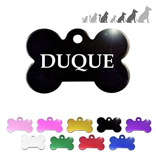 Personaliseerbaar naambordje voor honden, katten, huisdieren, personaliseerbaar., 40 x 26 mm,  Blanco Y Gris