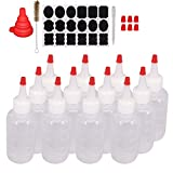 Belinlen 12 Pack 4-Ounce Plastic Squeeze Bottles with 12pcs Red Tip Caps and Measurement - Good for Crafts, Art, Glue, Multi Purpose Set of 12 with Extra 6 Red Cap 18 Chalk Labels and 1 Pen
