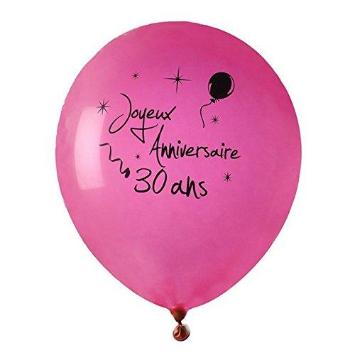 Chal - Ballon Joyeux Anniversaire Fuschia 30 Ans x 8