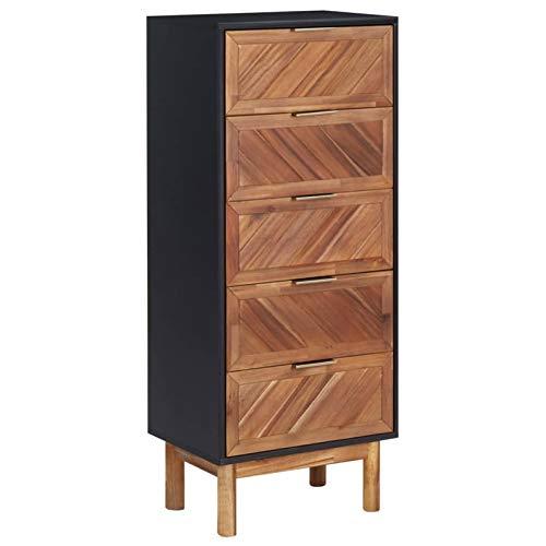 Irfora Sideboard Schrank Holz Schubladenkommode Mehrzweckschrank Aufbewahrungsschrank Vitrine 45x32x115 cm Akazie Massivholz und MDF