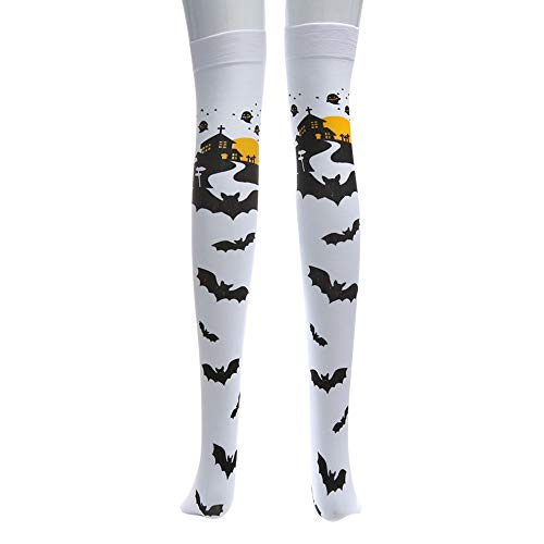 Deloito Halloween Drucken Lange Röhre Knie Socken Verrücktes Kleid Party Lustig Dress Up Requisiten Strümpfe (Weiß)