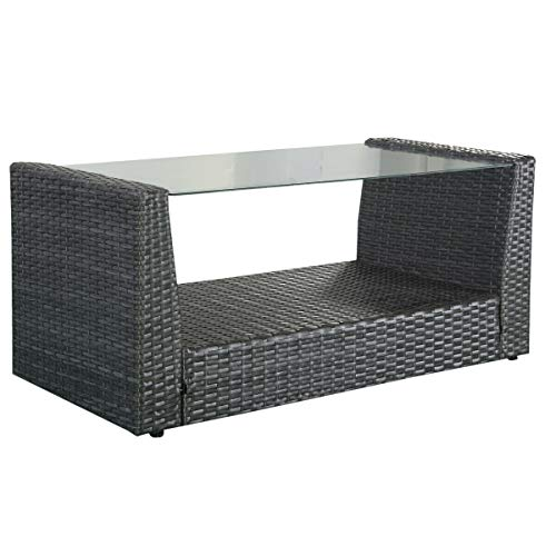 Lares & Penates Black Rattan Wicker Tempered Glass Top Outdoor Modern Side Coffee Table, Garden Poolside Tea Tables, Patio Furniture