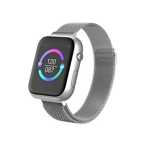 GZA Smart Pulset Watch Hombres Mujeres Ratio Cardíaco Fitness Tracker Sports Impermeable BT Watch Monitor del Sueño para Android iOS iPhone (Color : Silver Steel)