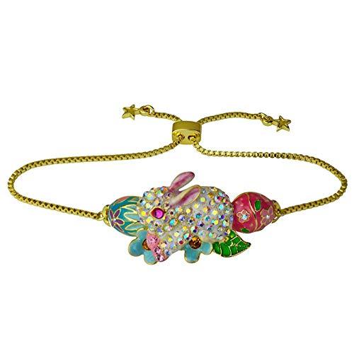 Kirks Folly Easter Bunny Slide Bracelet goldtone Adjustable