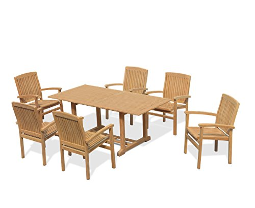 Jati 6 Seater Garden Table and Stacking Chairs Set