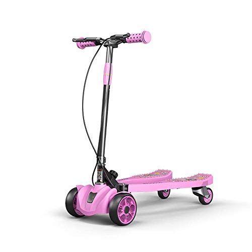 Save %27 Now! High Carbon Steel Alloy Stunt Scooters for Girls with 4 LED Wheels,Pink Lion Pattern Foldable Swing Motion Scooter for Children Aged 3+