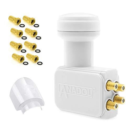 Anadol GoldLine Digital Quad LNB 4-Fach 0.1dB [ Test 2X SEHR GUT ] kälte & hitzebeständig - für 4 Teilnehmer + 8 F-Stecker + LNB Wetterschutz-Haube (für Schutz gegen Regen, Sonne, Hagel, EIS usw)