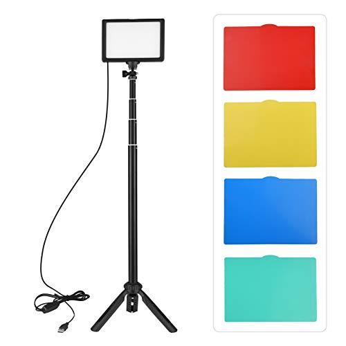 Andoer 1-Pack Luz LED Video 5600K Regulable con Soporte Trípode Ajustable y Filtros de Color para Angulo Bajo/Tablero de Mesa, Iluminación LED Colorida, Kit Iluminación Fotografía Portátil