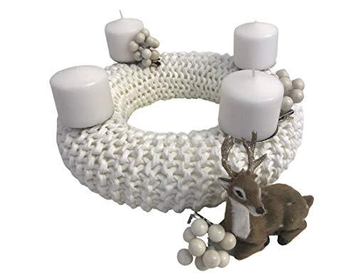 Weißer Adventskranz | gestrickt | Upcycling Wolle | Weihnachts Deko | Advent | Kranz | 30cm Durchmesser | Kerzen | xmas | Boho Style