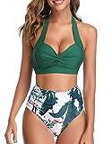Voqeen Bikini Mujer Traje de Baño Retro con Halter Cuello Relleno Sujetador Push Up Braguitas de Cintura Alta con Pliegues BañAdores Ropa de Playas (Verde, S)