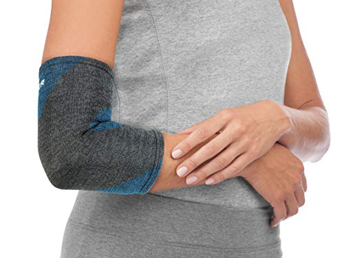 Mueller 4-Way Stretch Black & Blue Premium Knit Elbow Support with Thermo Reactive Technology, Medium/Large,