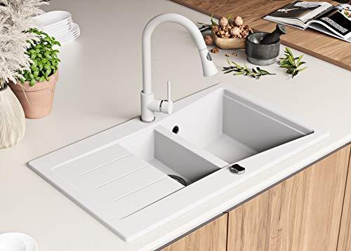 Granitspüle mit Siphon Madrid Einbauspüle Spülbecken Weiß Küchenspüle Unterschrank Küche ab 60cm Spüle aus Granit mit Ablaufgarnitur Drehexcenter und Überlauf von Primagran