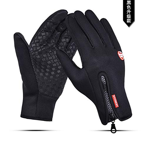 Mdsfe Waterproof Winter Warm Gloves Men Ski Gloves Snowboard Gloves Motorcycle Riding Winter Touch Screen Snow Windstopper Glove - Black,XL