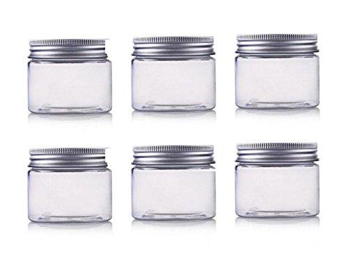 Ericotry 6 STK. PET-Kosmetikbehälter Leere Make-up-Etuis-Halter mit silbernem Aluminium-Schraubverschlussdeckel Präfekt für Lippenbalsam Lidschatten Gesichtscreme Lotion (5Oz/150ml)