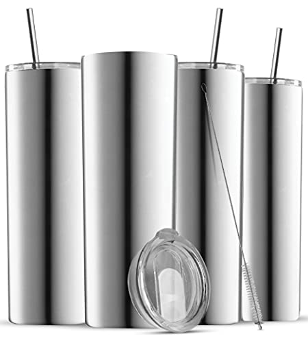 Insulated Skinny Stainless Steel Tumbler Set - 4-Pack 20oz Coffee Tumbler with Straw - Travel Coffee...