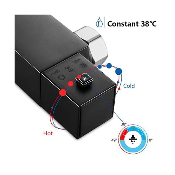 AuraLum Conjunto de Ducha Termostática Negro Diseño Moderno, Bañera Termostática Grifo de Ducha Cuarto de Baño Cuarto de…