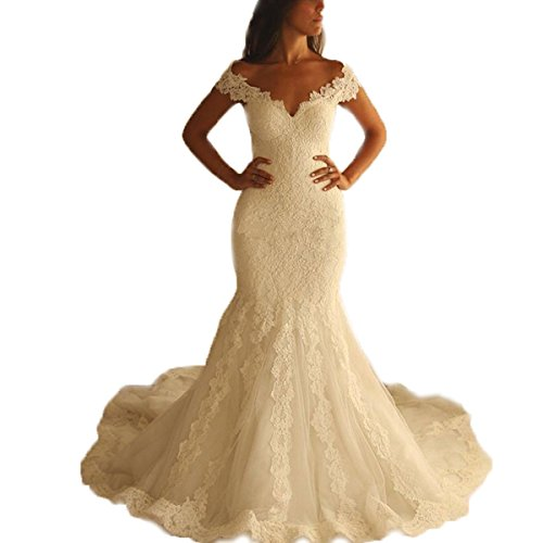 Kayle Sexy V-Neck Mermaid Wedding Dresses 2017 Cap Sleeve Lace Wedding Bride Gown White