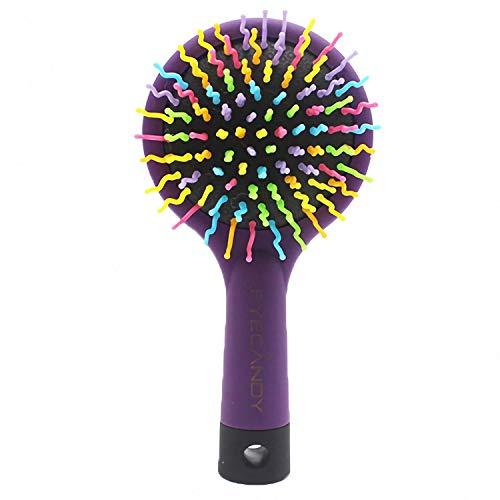 Dirgee DETANGLANDO Cepillo de Pelo Rainbow Volumen Brush Magic Hair Curl Cepillo de Peine Recta con Espejo