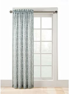 Style Selections Jana 84-in L Embroidered Floral Back Lined Rod Pocket Sheer Window Curtain, Light Filtering, Mineral
