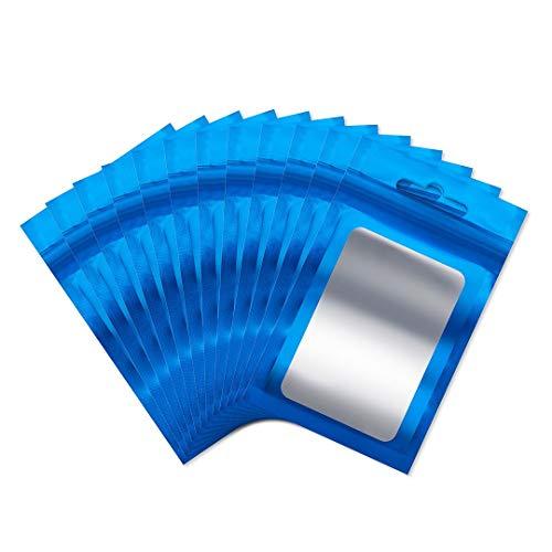 Rimiko 50 Stück druckverschlussbeutel Plastiktüte Ziplock Folien Beutel Tasche Flachbeutel Geruchssichere wiederverschließbare zur Aufbewahrung von Lebensmitteln (Blau, 6 x 10 cm)