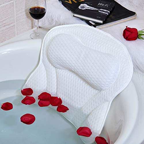 BEISHIDA Bath Pillow Luxury Bathtub Pillow Spa Bath Pillows for Tub Neck Shoulder Back Support 4D Air Mesh and 6 Strong Suction Cups  Fits All Bathtub Hot Tub Jacuzzi Home Spa for Men Women