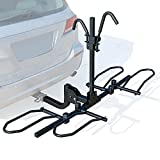"""Leader Accessories 2-Bike Platform Style Hitch Mount Bike Rack, Tray Style Bicycle Carrier Racks Foldable Rack for Cars, Trucks, SUV and Minivans with 2"""" Hitch Receiver - Quick Hitch Pins Design"""