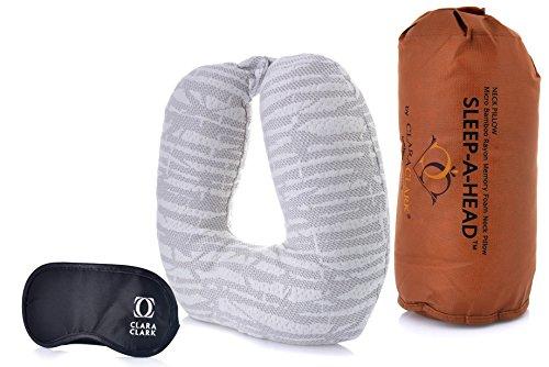 Clara Clark Best Travel Neck Pillow & Eye Shade Bundle – Memory Foam Pillow – Luxurious & Hypoallergenic – Best, Ergonomic Neck, Head & Shoulder Pain Relief Contour Pillow for Travel - Washable Cover