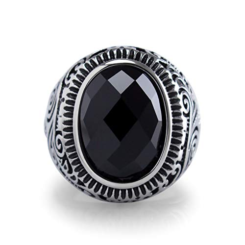 555Jewelry Classic Stainless Steel Rings for Men, Retro Vintage Celtic Seal Oval Diamond Cut Black Onyx Ring for Men, Signet Ring for Men, Mens Stone Ring Band, Silver, Size 8