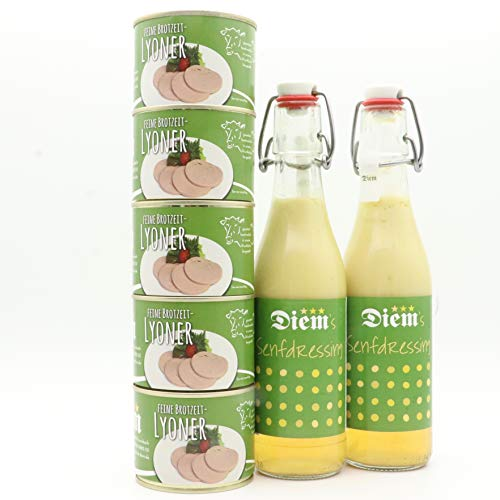 Diem Wurstsalat Set 5 x 200g Lyoner + 2 x Senfdressing (1Kg Lyoner + 660 ml Senfdressing) Brotzeit Set, Vesper Set