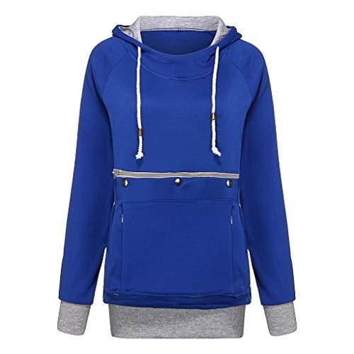 Best Prices! Benficial 2019 New Sweatshirt for Women Solid Long Sleeve Pet Big Pockets Velvet Hoodie...