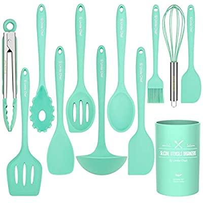 Kitchen Utensil Set - 12 Cooking Utensils Set- Colorful Silicone Kitchen Utensils - Nonstick Cookware with Spatula Set - Kitchen Tools Kitchen Gadgets with Utensil Crock by Umite Chef(Green-12 PCS) from